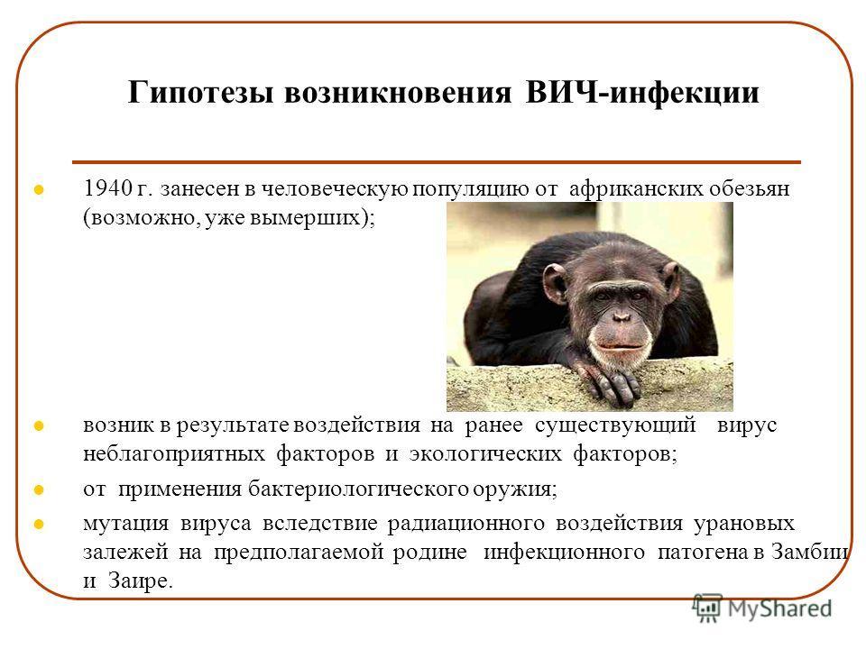 Гипотезы возникновения ВИЧ-инфекции 1940 г. занесен в человеческую популяцию от африканских обезьян (возможно, уже вымерших); возник в результате воздействия на ранее существующий вирус неблагоприятных факторов и экологических факторов; от применения