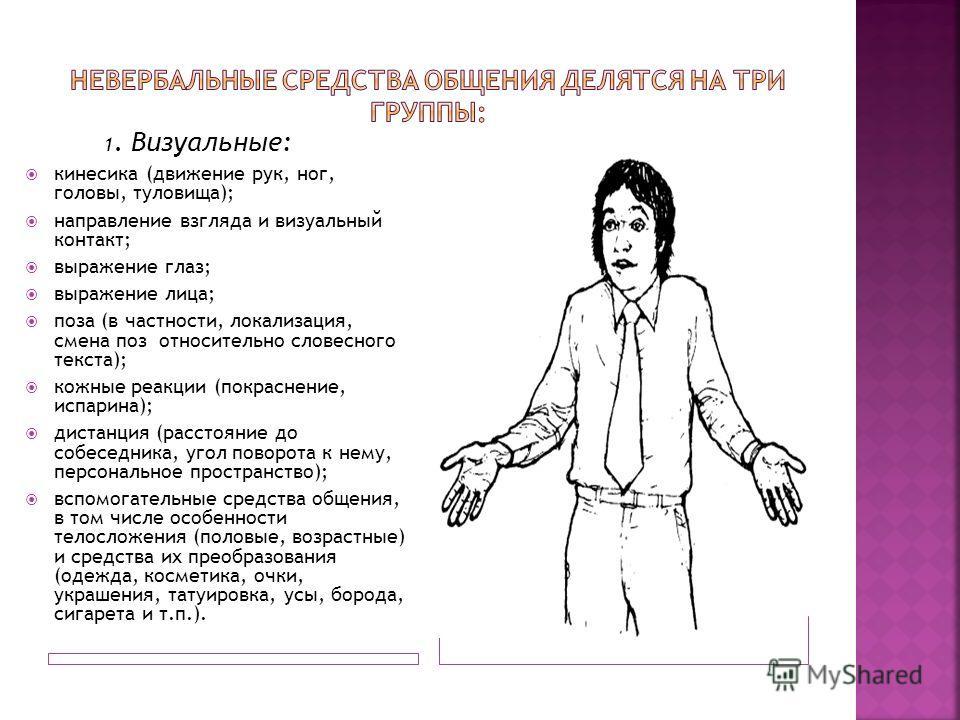 1. Визуальные: кинесика (движение рук, ног, головы, туловища); направление взгляда и визуальный контакт; выражение глаз; выражение лица; поза (в частности, локализация, смена поз относительно словесного текста); кожные реакции (покраснение, испарина)