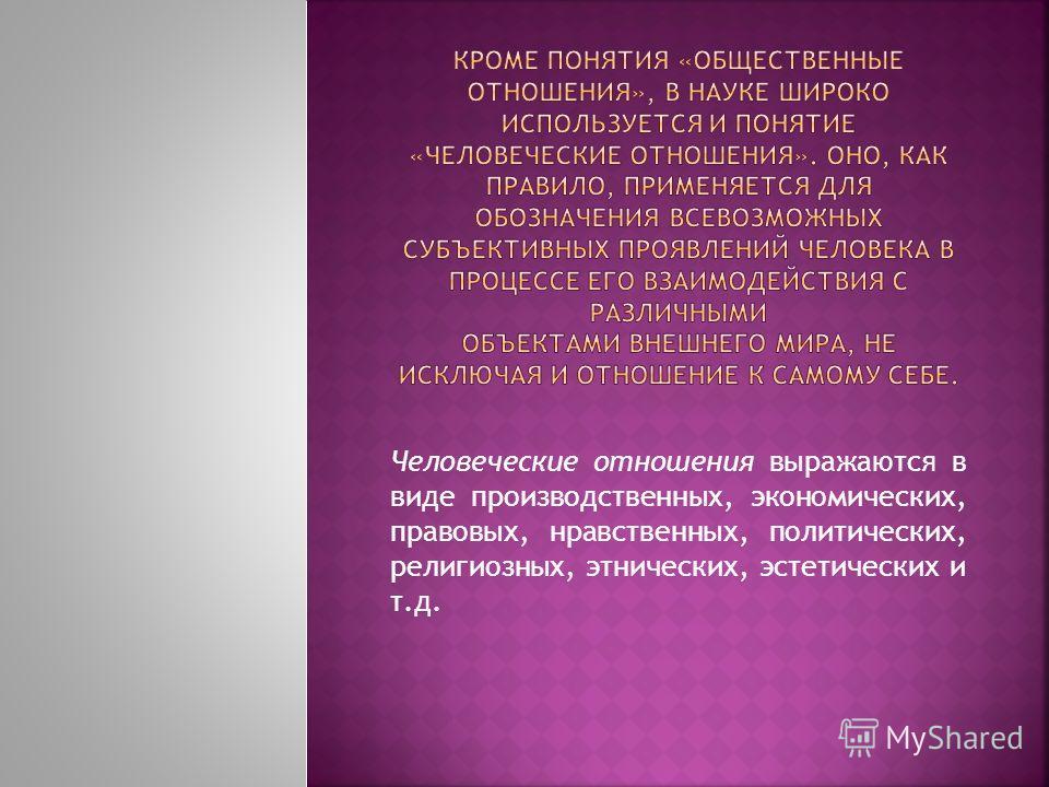 Человеческие отношения выражаются в виде производственных, экономических, правовых, нравственных, политических, религиозных, этнических, эстетических и т.д.