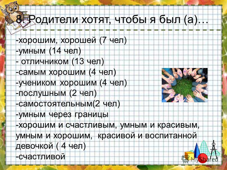 -хорошим, хорошей (7 чел) -умным (14 чел) - отличником (13 чел) -самым хорошим (4 чел) -учеником хорошим (4 чел) -послушным (2 чел) -самостоятельным(2 чел) -умным через границы -хорошим и счастливым, умным и красивым, умным и хорошим, красивой и восп