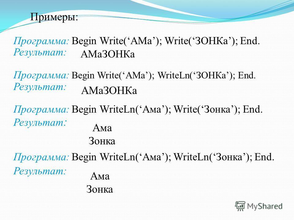 Примеры: Программа: Begin Write(АМа); Write(ЗОНКа); End. Результат: Программа: Begin Write(АМа); WriteLn(ЗОНКа); End. Результат: Программа: Begin WriteLn(Ама); Write(Зонка); End. Результат : Программа: Begin WriteLn(Ама); WriteLn(Зонка); End. Результ