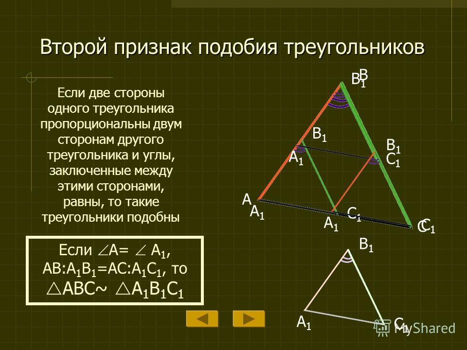 Первый признак подобия треугольников Если два угла одного треугольника соответственно равны двум углам другого, то такие треугольники подобны A B C A1A1 B1B1 C1C1 Если A= A 1, B= B 1, то ABC~ A 1 B 1 C 1 A1A1 B1B1 C1C1 A1A1 B1B1 C1C1 A1A1 B1B1 C1C1