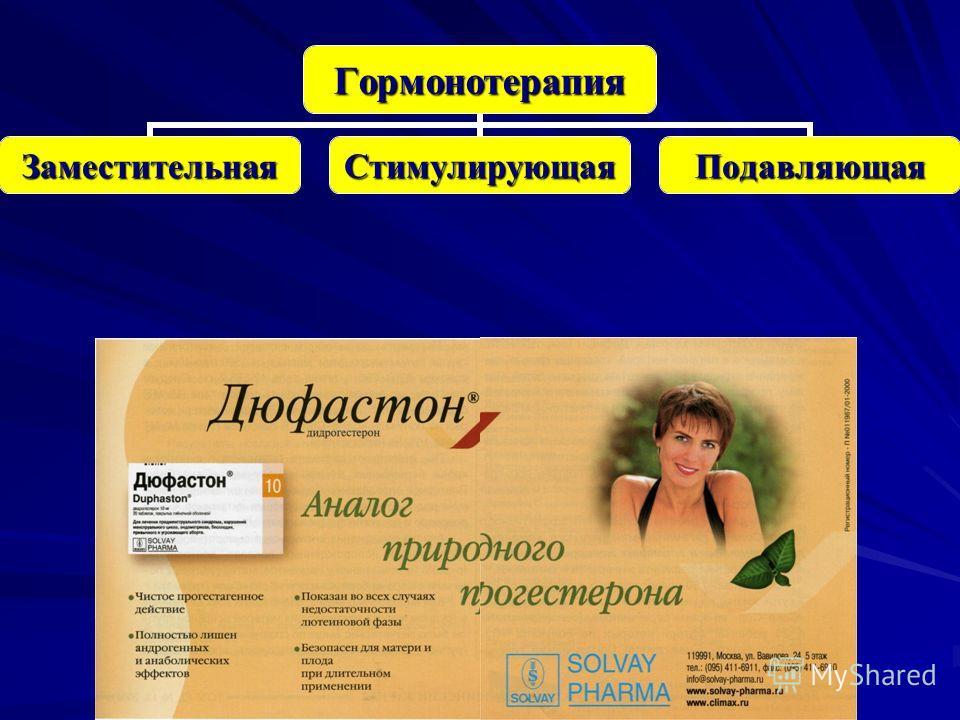 Гормонотерапия ЗаместительнаяСтимулирующаяПодавляющая