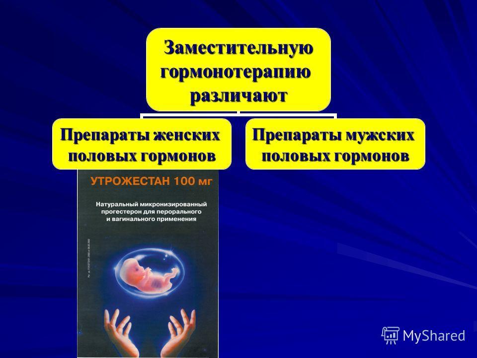 Заместительнуюгормонотерапиюразличают Препараты женских половых гормонов Препараты мужских половых гормонов