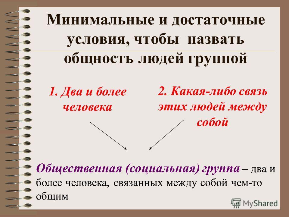 Минимальные и достаточные условия, чтобы назвать общность людей группой 1. Два и более человека 2. Какая-либо связь этих людей между собой Общественная (социальная) группа – два и более человека, связанных между собой чем-то общим