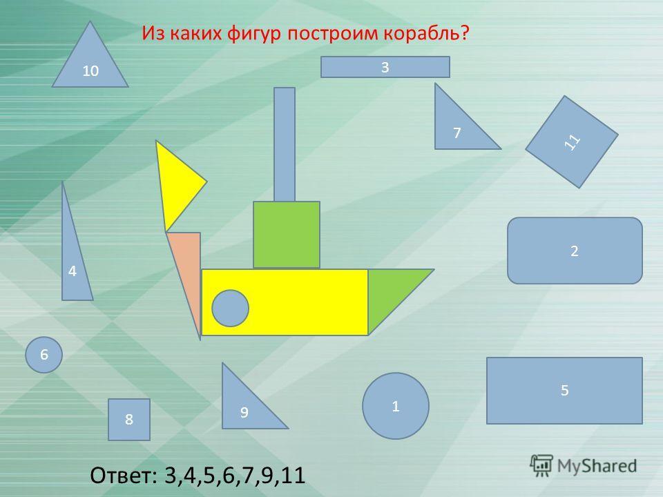 3 11 6 1 7 4 5 9 2 8 10 Ответ : 3,4,5,6,7,9,11 Из каких фигур построим корабль ?