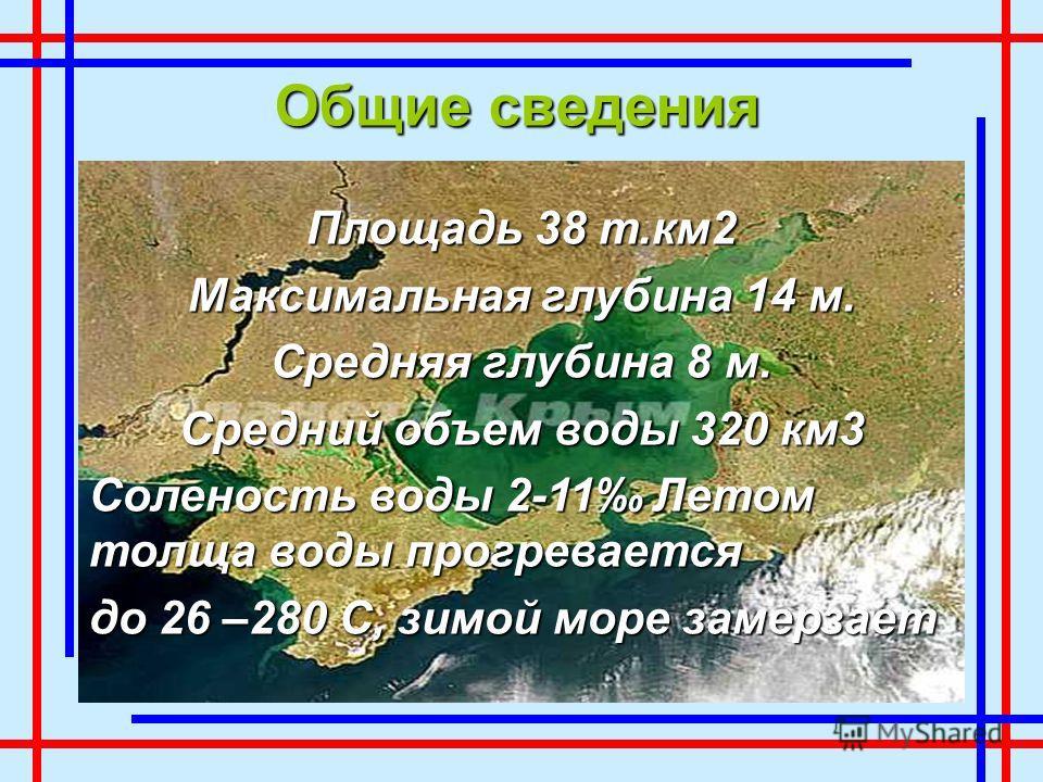 Площадь 38 т.км2 Максимальная глубина 14 м. Средняя глубина 8 м. Средний объем воды 320 км3 Соленость воды 2-11 Летом толща воды прогревается до 26 –280 С, зимой море замерзает