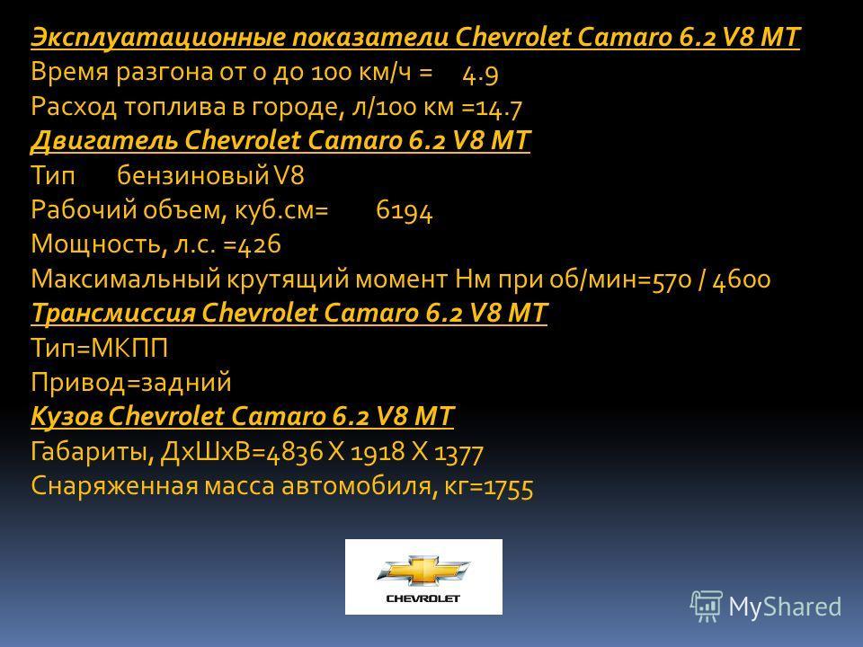 Эксплуатационные показатели Chevrolet Camaro 6.2 V8 MT Время разгона от 0 до 100 км/ч =4.9 Расход топлива в городе, л/100 км =14.7 Двигатель Chevrolet Camaro 6.2 V8 MT Типбензиновый V8 Рабочий объем, куб.см=6194 Мощность, л.с. =426 Максимальный крутя