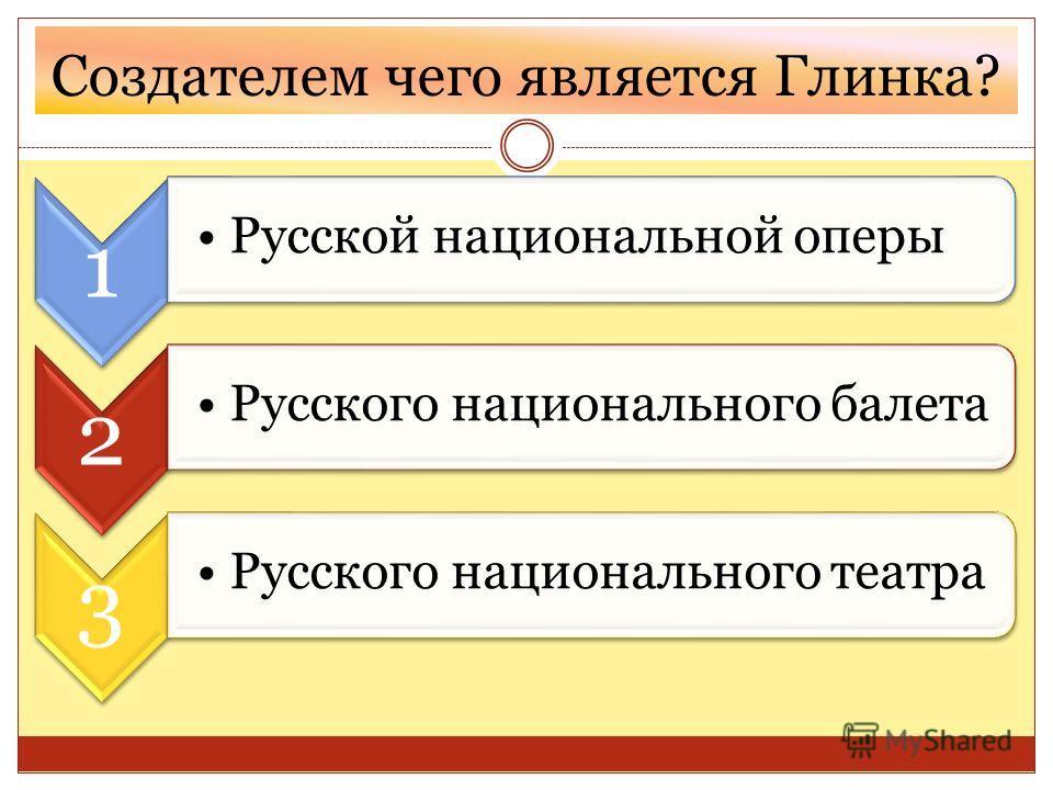 Создателем чего является Глинка? 1 Русской национальной оперы 2 Русского национального балета 3 Русского национального театра