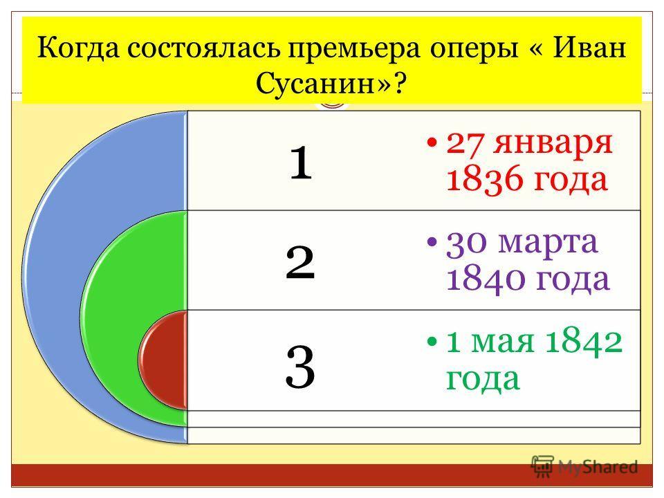 Когда состоялась премьера оперы « Иван Сусанин»? 1 2 3 27 января 1836 года 30 марта 1840 года 1 мая 1842 года