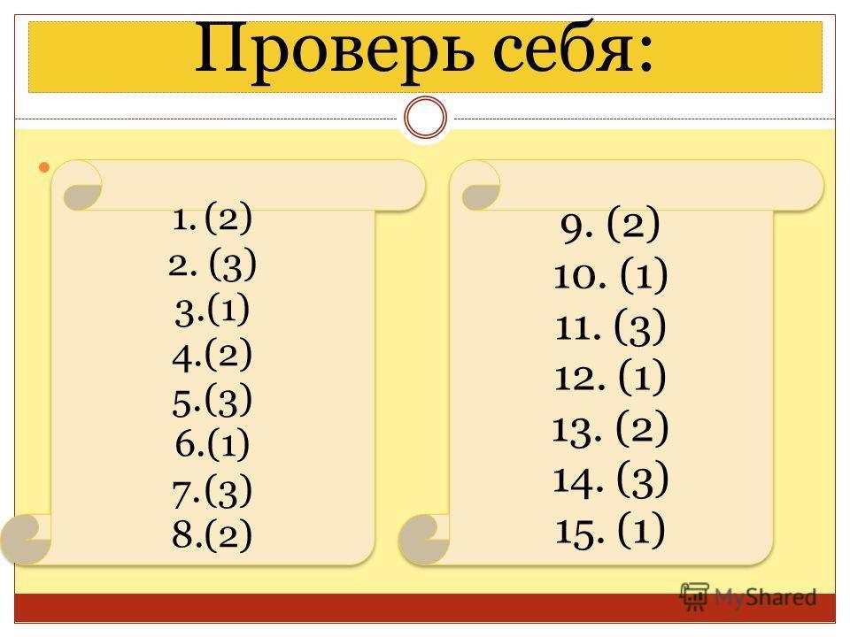 Проверь себя: 1.(2) 2. (3) 3.(1) 4.(2) 5.(3) 6.(1) 7.(3) 8.(2) 1.(2) 2. (3) 3.(1) 4.(2) 5.(3) 6.(1) 7.(3) 8.(2) 9. (2) 10. (1) 11. (3) 12. (1) 13. (2) 14. (3) 15. (1) 9. (2) 10. (1) 11. (3) 12. (1) 13. (2) 14. (3) 15. (1)