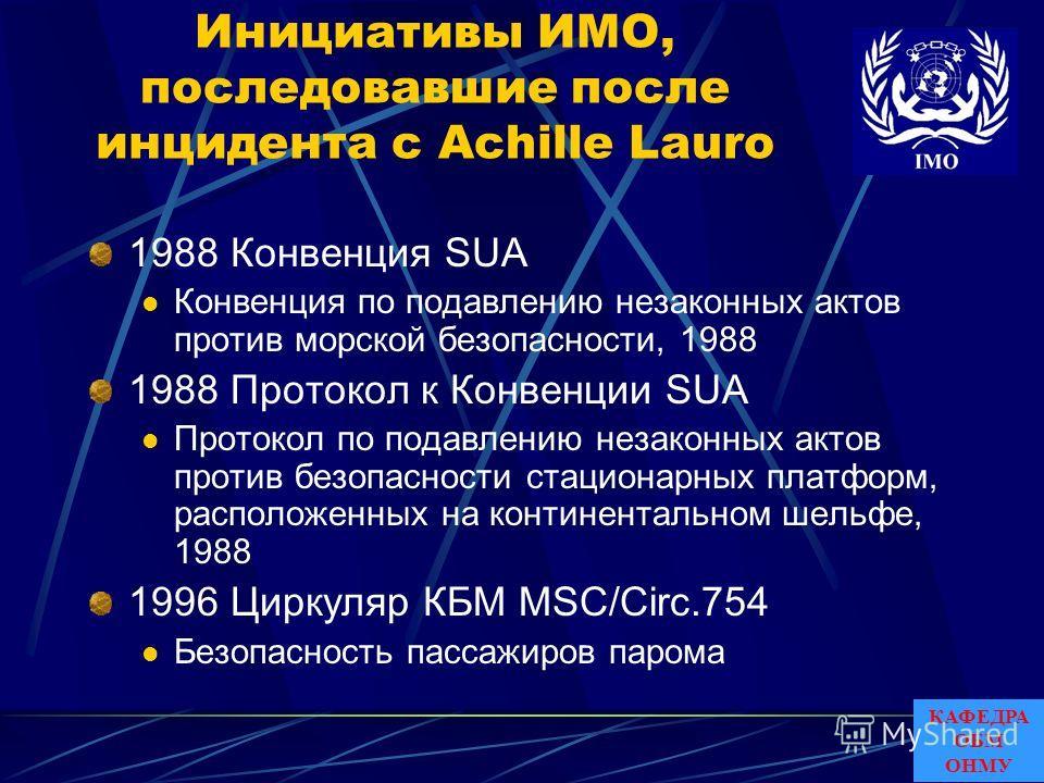 Инициативы ИМО, последовавшие после инцидента с Achille Lauro 1988 Конвенция SUA Конвенция по подавлению незаконных актов против морской безопасности, 1988 1988 Протокол к Конвенции SUA Протокол по подавлению незаконных актов против безопасности стац