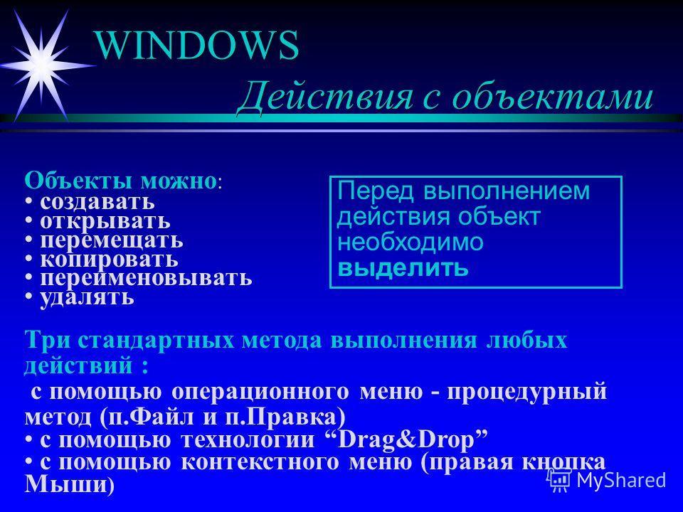 WINDOWS Действия с объектами Объекты можно : создавать открывать перемещать копировать переименовывать удалять Три стандартных метода выполнения любых действий : с помощью операционного меню - процедурный метод (п.Файл и п.Правка) с помощью технологи