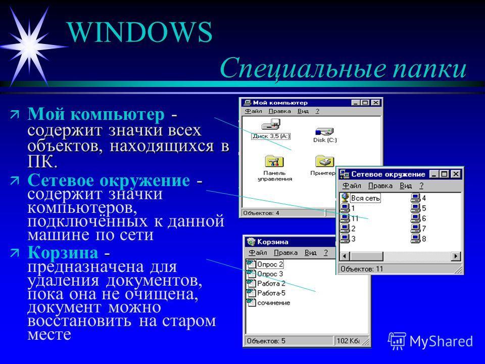 WINDOWS Специальные папки ä - содержит значки всех объектов, находящихся в ПК. ä Мой компьютер - содержит значки всех объектов, находящихся в ПК. ä - ä Сетевое окружение - содержит значки компьютеров, подключённых к данной машине по сети ä - ä Корзин