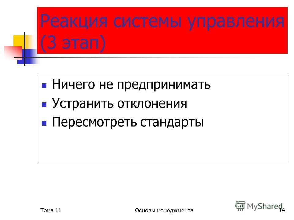 Тема 11Основы менеджмента14 Реакция системы управления (3 этап) Ничего не предпринимать Устранить отклонения Пересмотреть стандарты