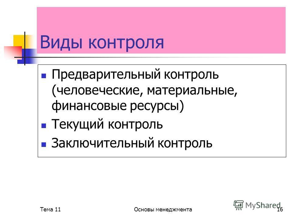 Тема 11Основы менеджмента16 Виды контроля Предварительный контроль (человеческие, материальные, финансовые ресурсы) Текущий контроль Заключительный контроль