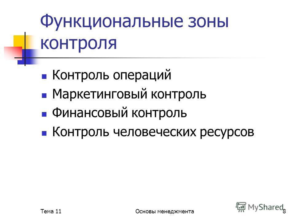 Тема 11Основы менеджмента8 Функциональные зоны контроля Контроль операций Маркетинговый контроль Финансовый контроль Контроль человеческих ресурсов