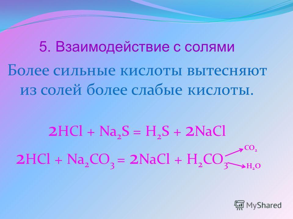 5. Взаимодействие с солями Более сильные кислоты вытесняют из солей более слабые кислоты. 2 HCl + Na 2 S = H 2 S + 2 NaCl 2 HCl + Na 2 CO 3 = 2 NaCl + H 2 CO 3 CO 2 H2OH2O