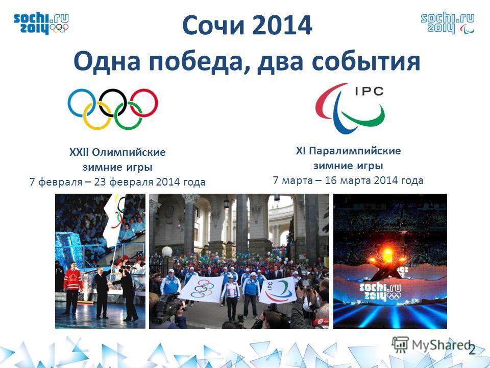 Сочи 2014 Одна победа, два события ХХII Олимпийские зимние игры 7 февраля – 23 февраля 2014 года ХI Паралимпийские зимние игры 7 марта – 16 марта 2014 года 2