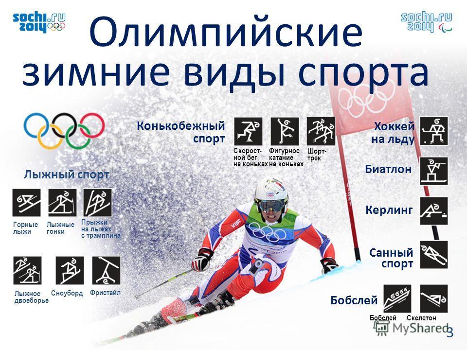 3 Олимпийские зимние виды спорта Горные лыжи Лыжные гонки Прыжки на лыжах с трамплина Лыжный спорт Фристайл Лыжное двоеборье Сноуборд Фигурное катание на коньках Скорост- ной бег на коньках Шорт- трек Биатлон Конькобежный спорт Хоккей на льду Керлинг