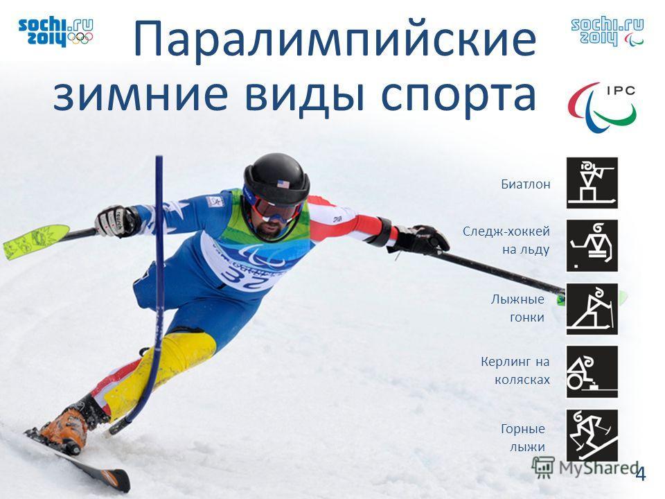 Паралимпийские зимние виды спорта 4 Горные лыжи Лыжные гонки Биатлон Керлинг на колясках Следж-хоккей на льду