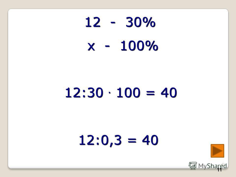 11 12 - 30% 12 - 30% х - 100% х - 100% 12:30 100 = 40 12:30 100 = 40 12:0,3 = 40 11
