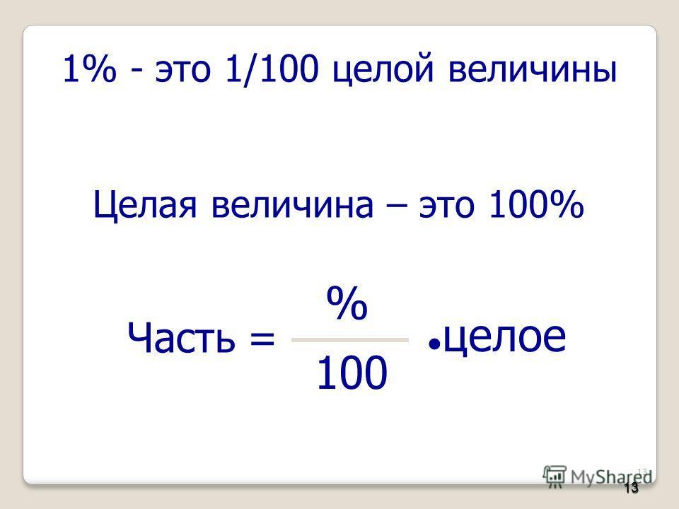 13 1% - это 1/100 целой величины Целая величина – это 100% Часть = % 100 целое 13