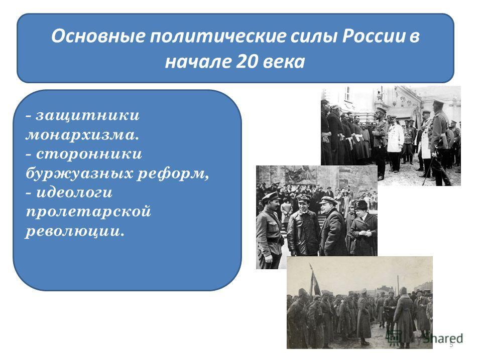 Основные политические силы России в начале 20 века - защитники монархизма. - сторонники буржуазных реформ, - идеологи пролетарской революции. 5