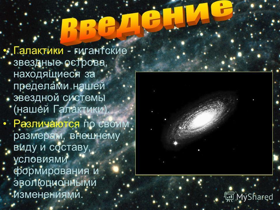 Галактики - гигантские звездные острова, находящиеся за пределами нашей звездной системы (нашей Галактики). Различаются по своим размерам, внешнему виду и составу, условиями формирования и эволюционными изменениями.