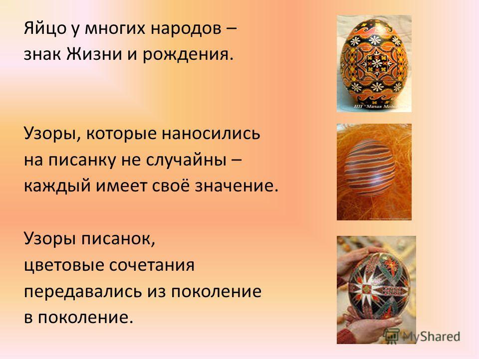 Яйцо у многих народов – знак Жизни и рождения. Узоры, которые наносились на писанку не случайны – каждый имеет своё значение. Узоры писанок, цветовые сочетания передавались из поколение в поколение.