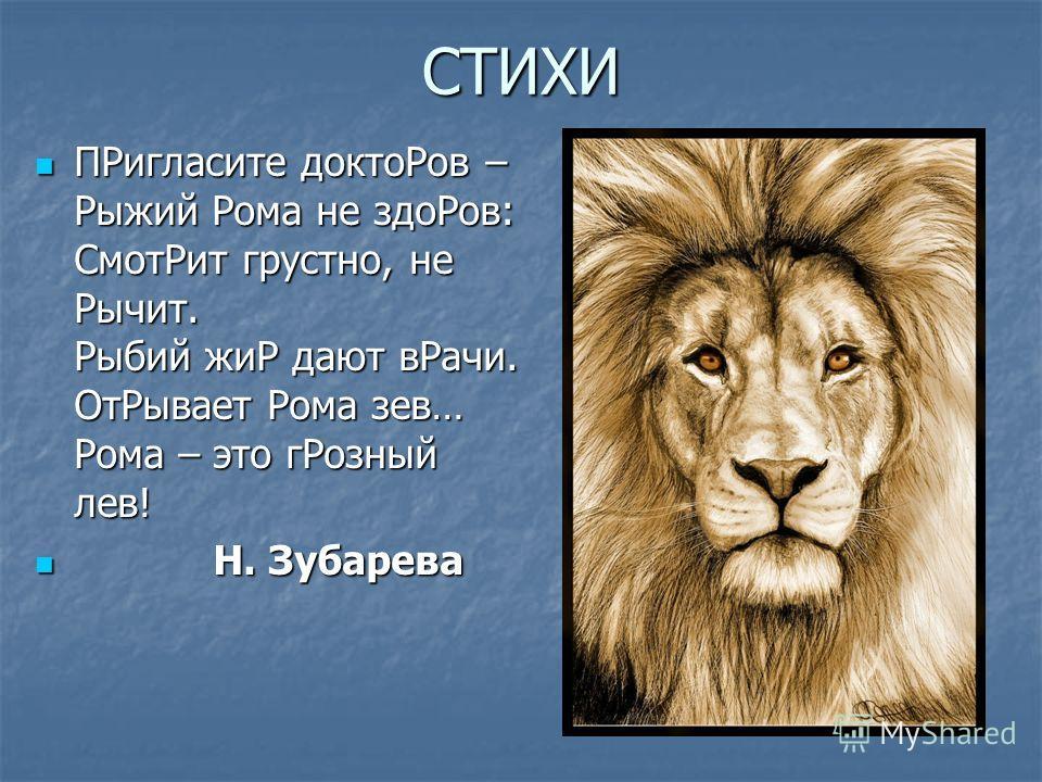 СТИХИ ПРигласите доктоРов – Рыжий Рома не здоРов: СмотРит грустно, не Рычит. Рыбий жиР дают вРачи. ОтРывает Рома зев… Рома – это гРозный лев! ПРигласите доктоРов – Рыжий Рома не здоРов: СмотРит грустно, не Рычит. Рыбий жиР дают вРачи. ОтРывает Рома з