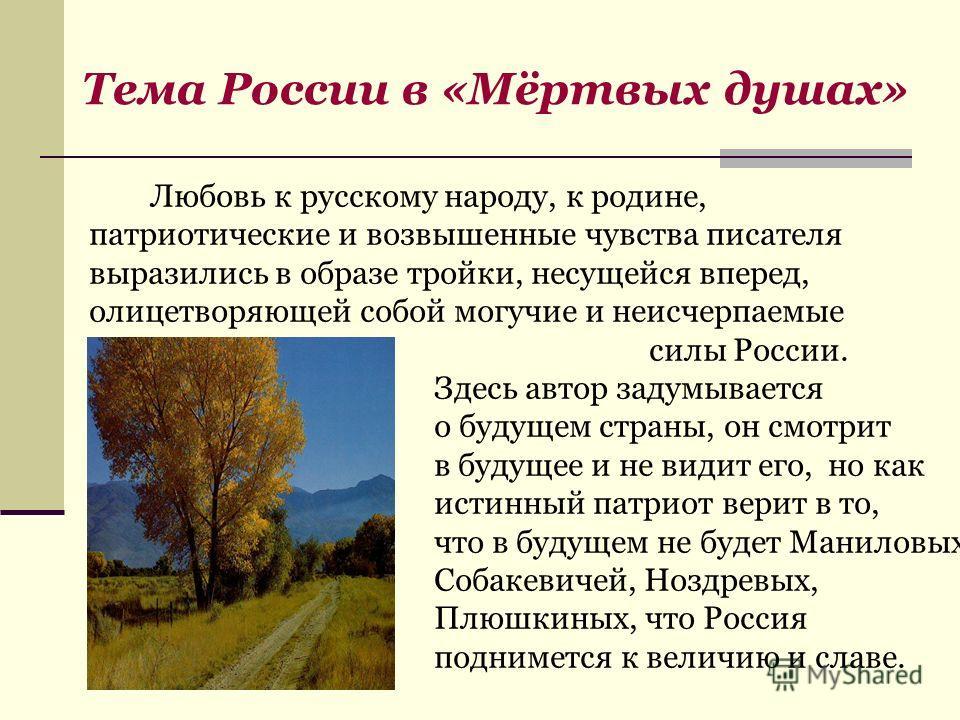 Любовь к русскому народу, к родине, патриотические и возвышенные чувства писателя выразились в образе тройки, несущейся вперед, олицетворяющей собой могучие и неисчерпаемые силы России. Здесь автор задумывается о будущем страны, он смотрит в будущее