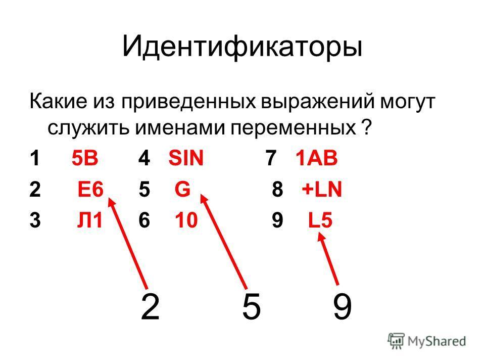 Идентификаторы Какие из приведенных выражений могут служить именами переменных ? 1 5B 4 SIN 7 1AB 2 E6 5 G 8 +LN 3 Л1 6 10 9 L5 2 5 9