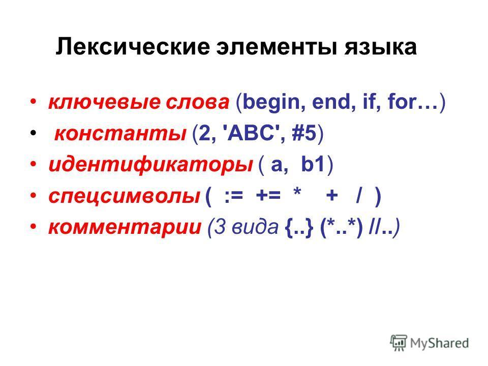 Лексические элементы языка ключевые слова (begin, end, if, for…) константы (2, 'ABC', #5) идентификаторы ( a, b1) спецсимволы ( := += * + / ) комментарии (3 вида {..} (*..*) //..)