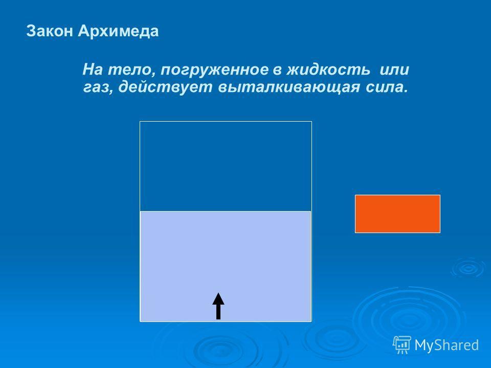 Закон Архимеда На тело, погруженное в жидкость или газ, действует выталкивающая сила.