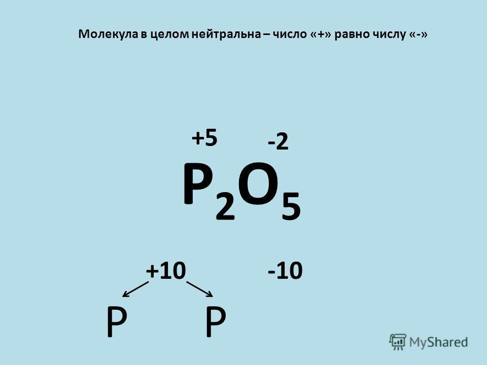 Молекула в целом нейтральна – число «+» равно числу «-» P2O5P2O5 -2 -10+10 PP +5