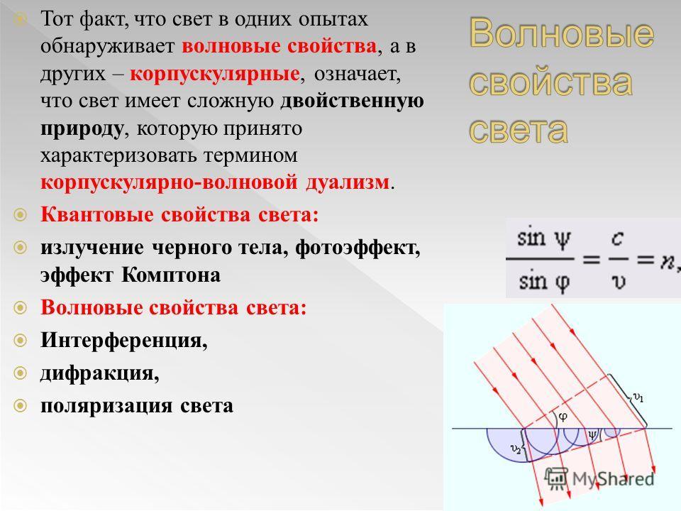 Тот факт, что свет в одних опытах обнаруживает волновые свойства, а в других – корпускулярные, означает, что свет имеет сложную двойственную природу, которую принято характеризовать термином корпускулярно-волновой дуализм. Квантовые свойства света: и
