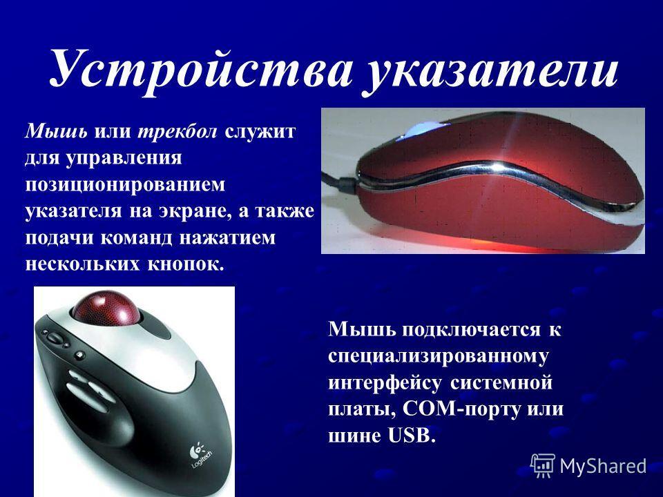 Устройства указатели Мышь или трекбол служит для управления позиционированием указателя на экране, а также подачи команд нажатием нескольких кнопок. Мышь подключается к специализированному интерфейсу системной платы, COM-порту или шине USB.