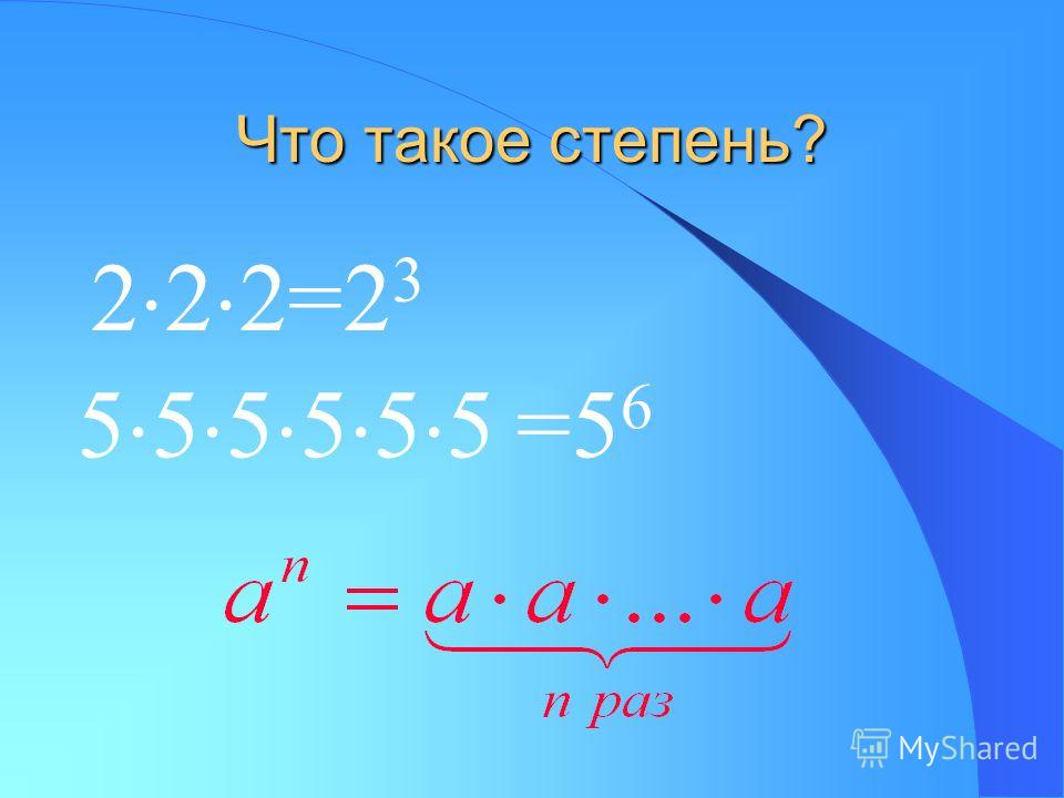 Что такое степень? 2 2 2=2 3 5 5 5 5 5 5 =5 6