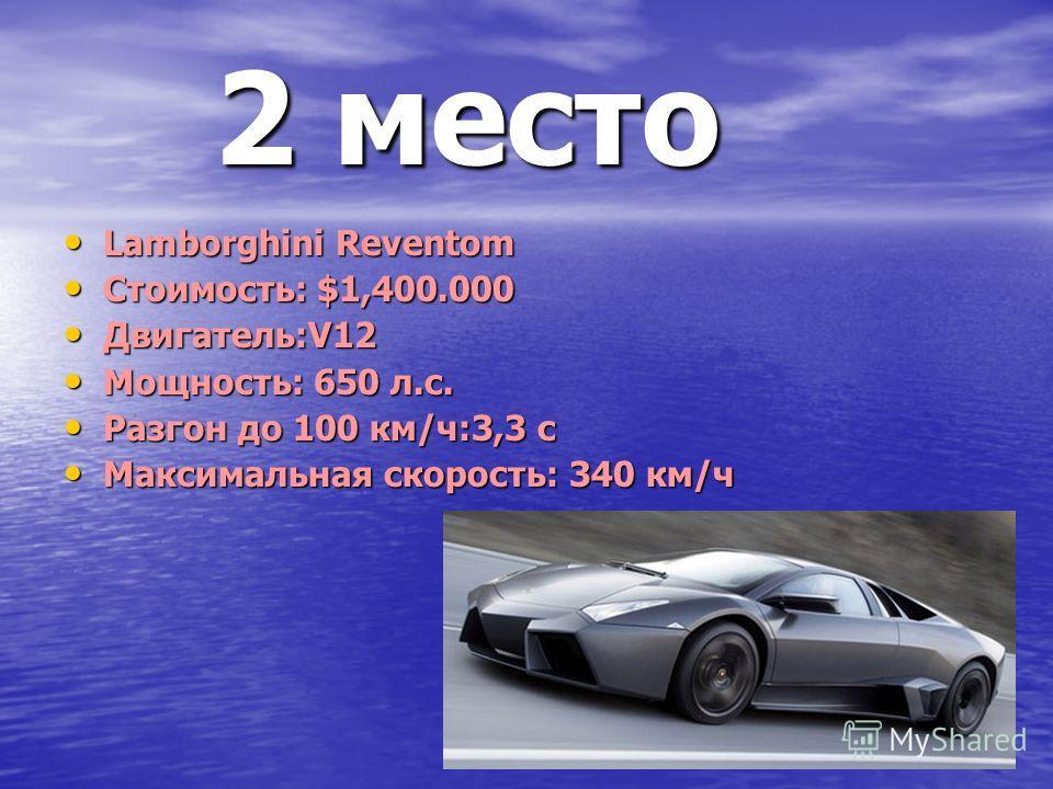 2 место 2 место Lamborghini Reventom Lamborghini Reventom Стоимость: $1,400.000 Стоимость: $1,400.000 Двигатель:V12 Двигатель:V12 Мощность: 650 л.с. Мощность: 650 л.с. Разгон до 100 км/ч:3,3 с Разгон до 100 км/ч:3,3 с Максимальная скорость: 340 км/ч