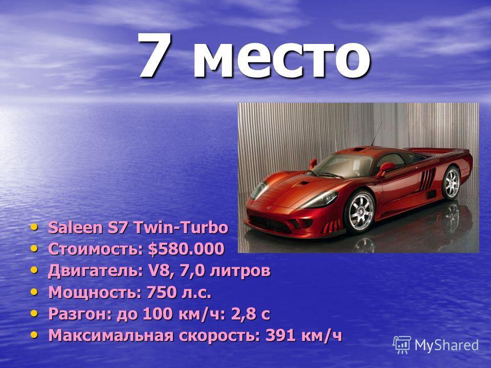 7 место 7 место Saleen S7 Twin-Turbo Saleen S7 Twin-Turbo Стоимость: $580.000 Стоимость: $580.000 Двигатель: V8, 7,0 литров Двигатель: V8, 7,0 литров Мощность: 750 л.с. Мощность: 750 л.с. Разгон: до 100 км/ч: 2,8 с Разгон: до 100 км/ч: 2,8 с Максимал