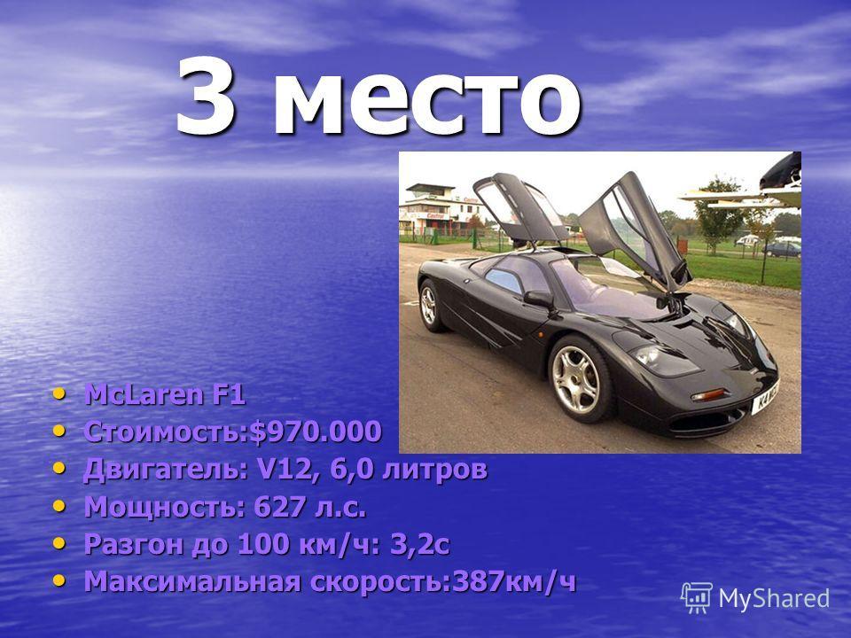 3 место 3 место McLaren F1 McLaren F1 Стоимость:$970.000 Стоимость:$970.000 Двигатель: V12, 6,0 литров Двигатель: V12, 6,0 литров Мощность: 627 л.с. Мощность: 627 л.с. Разгон до 100 км/ч: 3,2с Разгон до 100 км/ч: 3,2с Максимальная скорость:387км/ч Ма