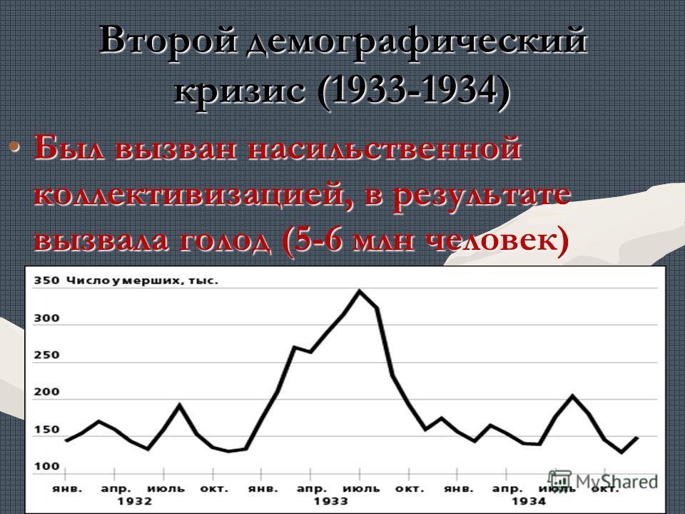 Второй демографический кризис (1933-1934) Был вызван насильственной коллективизацией, в результате вызвала голод (5-6 млн человек)Был вызван насильственной коллективизацией, в результате вызвала голод (5-6 млн человек)