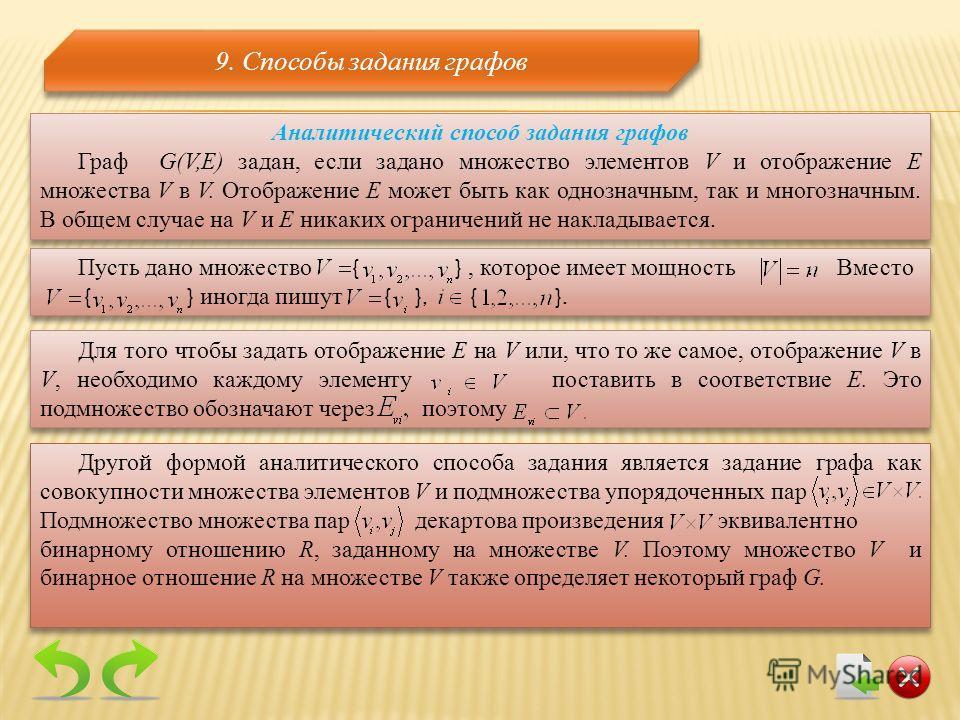 9. Способы задания графов Аналитический способ задания графов Граф G(V,E) задан, если задано множество элементов V и отображение Е множества V в V. Отображение Е может быть как однозначным, так и многозначным. В общем случае на V и E никаких ограниче