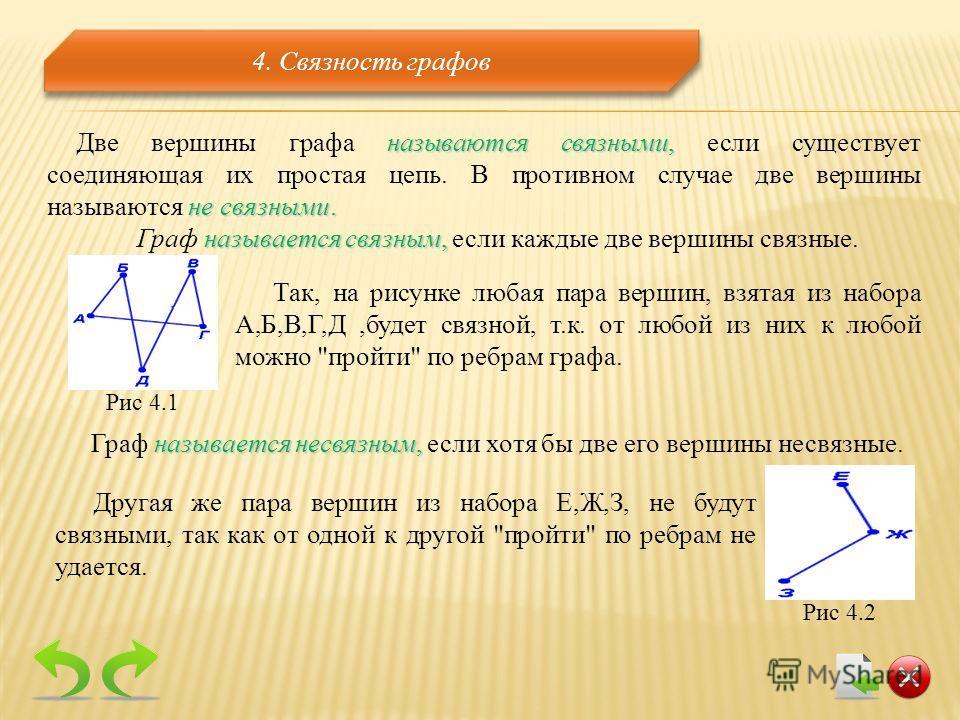 называются связными, не связными. Две вершины графа называются связными, если существует соединяющая их простая цепь. В противном случае две вершины называются не связными. называется связным, Граф называется связным, если каждые две вершины связные.
