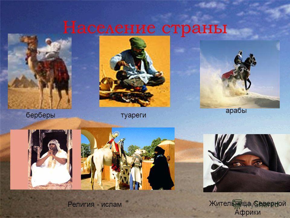 Население страны берберытуареги арабы Религия - ислам Жительница Северной Африки