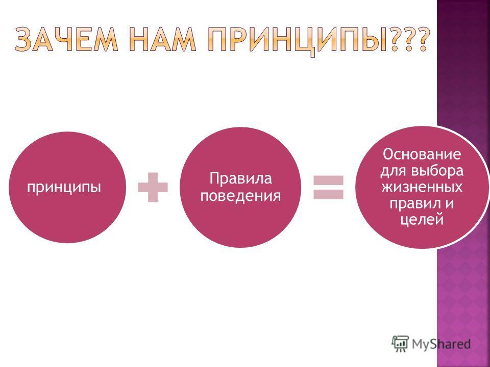 принципы Правила поведения Основание для выбора жизненных правил и целей