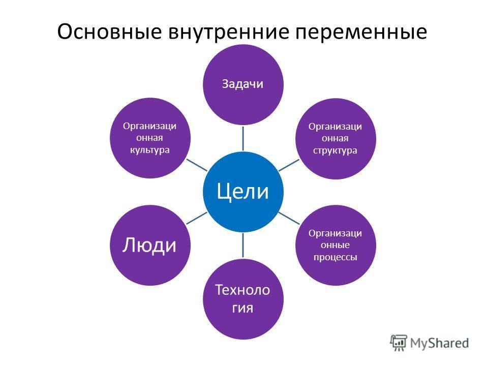 Основные внутренние переменные Цели Задачи Организаци онная структура Организаци онные процессы Техноло гия Люди Организаци онная культура