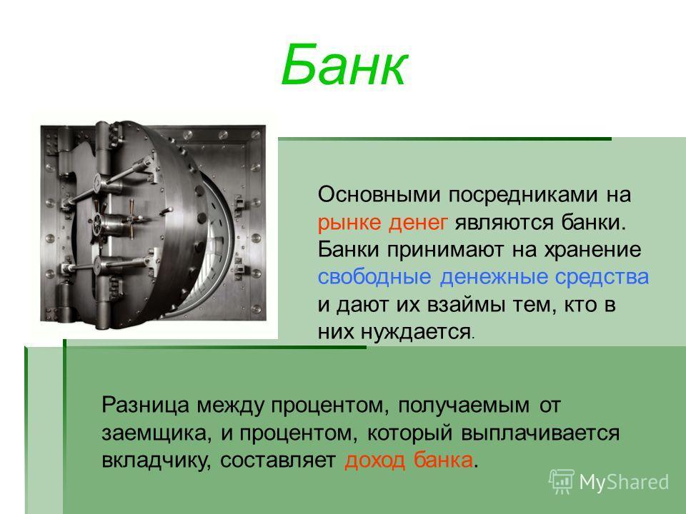 Банк Основными посредниками на рынке денег являются банки. Банки принимают на хранение свободные денежные средства и дают их взаймы тем, кто в них нуждается. Разница между процентом, получаемым от заемщика, и процентом, который выплачивается вкладчик