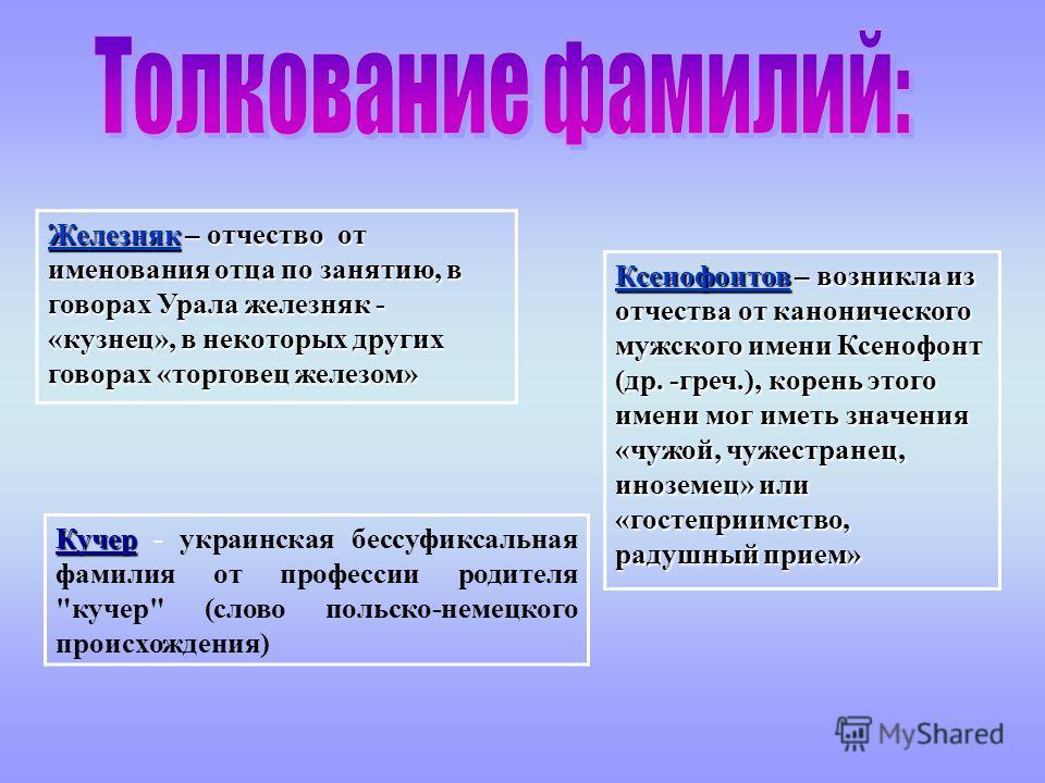 Ксенофонтов – возникла из отчества от канонического мужского имени Ксенофонт (др. -греч.), корень этого имени мог иметь значения «чужой, чужестранец, иноземец» или «гостеприимство, радушный прием» Кучер Кучер - украинская бессуфиксальная фамилия от п